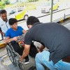 Aveena getting help to lift her wheelchair in the absence of a ramp. Most theory examination locations in Malaysia are not disabled-friendly.   Read more at http://www.thestar.com.my/metro/community/2017/06/19/disabled-learner-drivers-cry-for-help-th