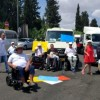 Dozens of disabled Israelis block Highway 1, the road from Tel Aviv to the Airport, June 21, 2017.  read more: http://www.haaretz.com/opinion/editorial/1.810429